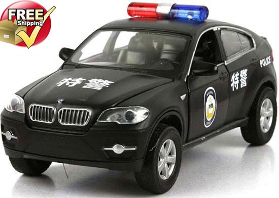 1:32 Scale White / Black / Blue Diecast BMW X6 Police Car Toy