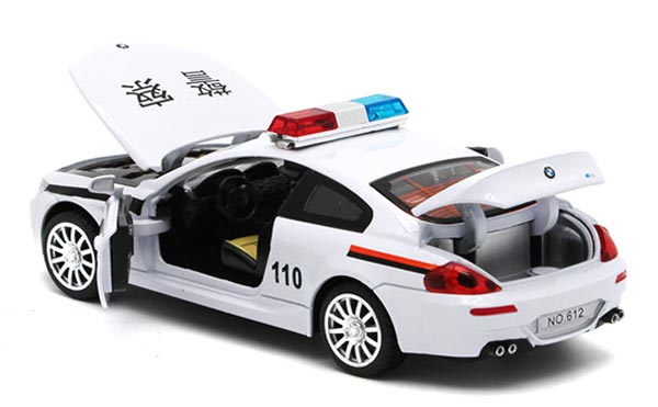 1:32 Scale White Kids Diecast BMW M6 Police Car Toy