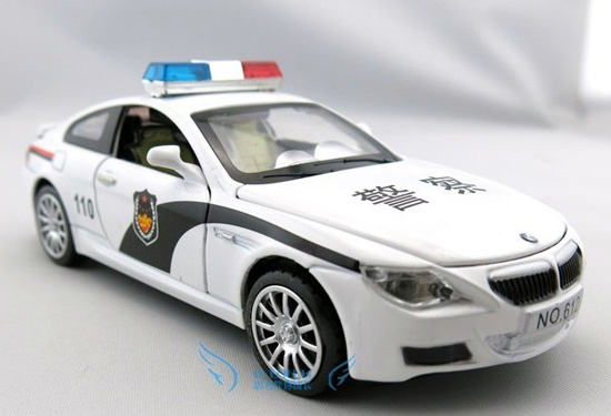 1:32 Scale White Chinese Style Police Diecast BMW M6 Car Toy