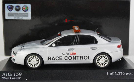 1:43 Scale White Diecast Alfa Romeo 159 Race Control Model