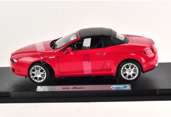 1:18 Scale Red Welly Diecast Convertible Alfa Romeo Spider