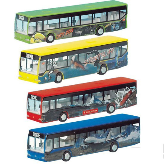 1 87 Scale Dickie Green Yellow Red Blue City Bus Toy