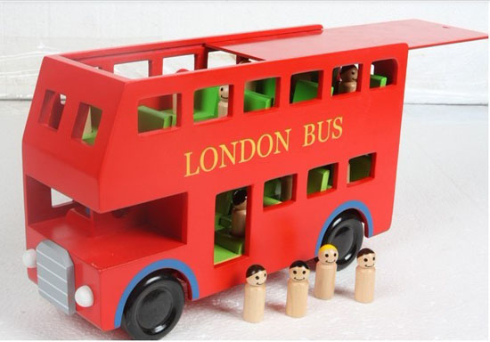 Large Scale Red Wooden London Double-decker Bus Toy