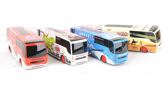 Kids Yellow / White / Red / Blue R/C Tour Bus Toy