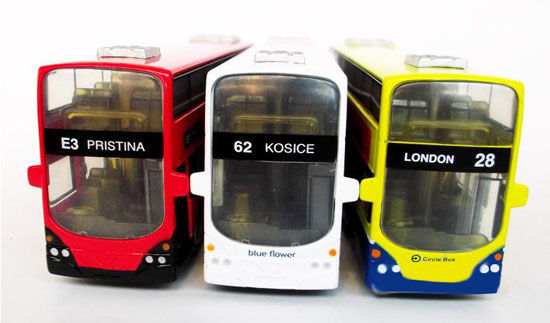 Yellow / White / Red Kids London Double-Decker Bus Toy