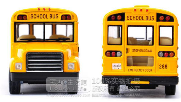 Kids Yellow Pull Back Function U S School Bus Toy