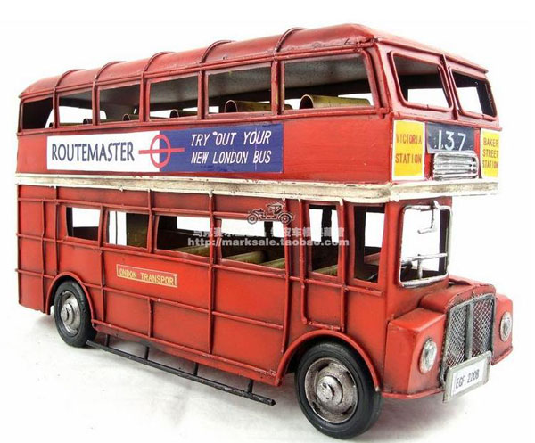 1:12 Scale Red Tinplate 1905 London Double-decker Bus Model