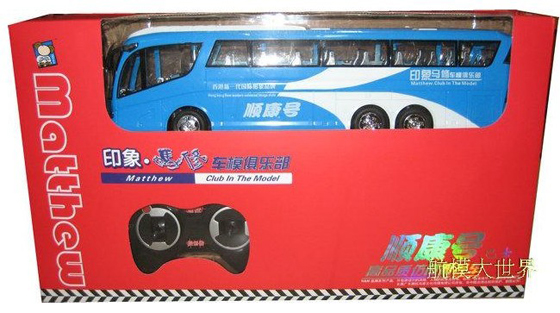 1:32 Scale Red / Blue Kids R/C Tour Bus Toy