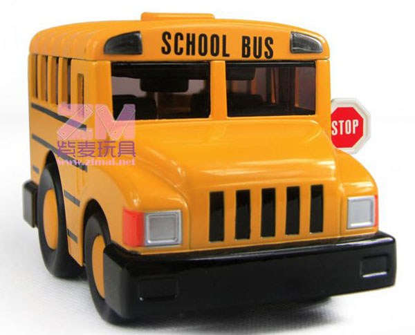 Bright Yellow Pull Back Function Kids School Bus Toy