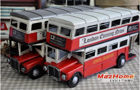 1:12 Scale Red / White / Silver London Double-decker Bus Model