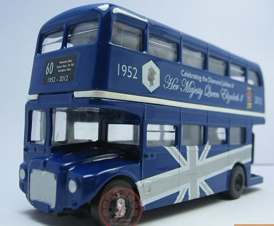 Blue 1:64 Scale CORGI Brand London Double-Decker Bus Toy
