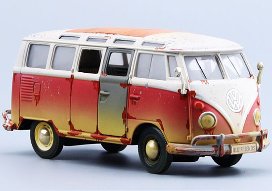 1:25 Old Friend MaiSto White-Red Diecast 1962 VW Bus Model