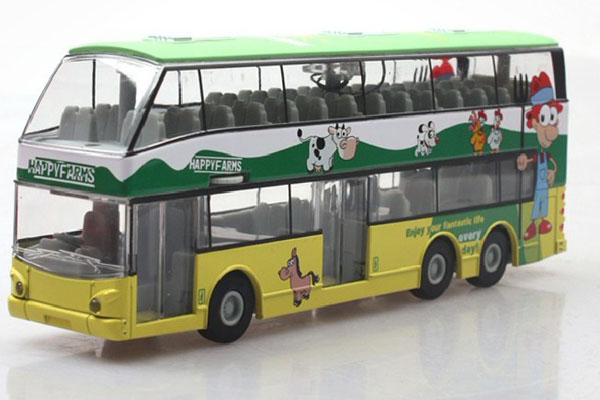 1:32 Scale Green-Yellow Kids Happy Farms Double Decker Bus Toy
