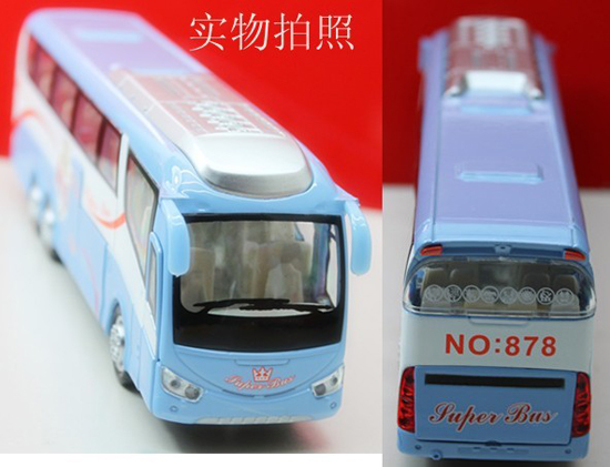Kids 1:50 Scale Blue / Green Luxury Tour Bus Toy