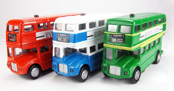 Kids Red / Green / Blue London Double-decker Bus Toy