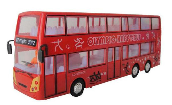 Kids Red Electric 2012 London Double-Decker Bus Toy
