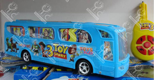 Kids Blue Plastics Cartoon Figures R/C Bus Toy