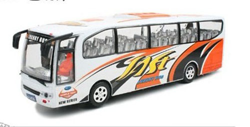 Plastics Kids Large Size White Electric Tour Bus Toy