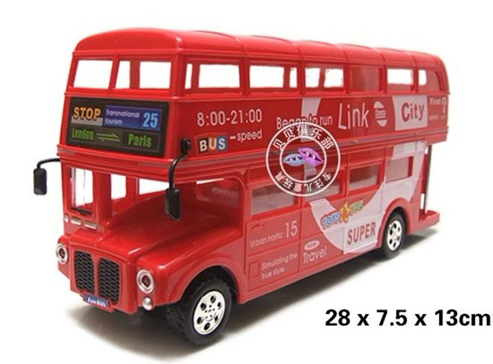 Medium Scale Kids Red Electric London Double-Deck Bus Toy