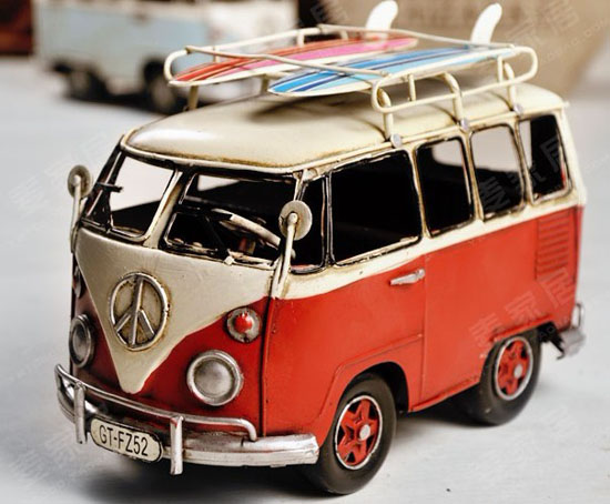 Medium Size Tinplate Red / Blue / Gray VW Bus Model