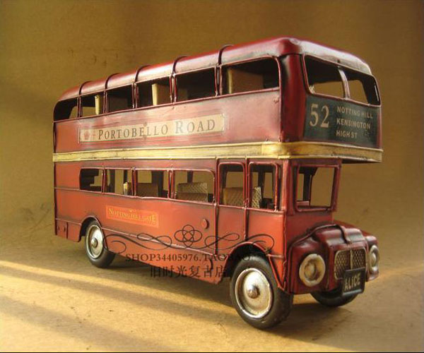 Vintage Large Scale Wine Red London Double Decker Bus Model