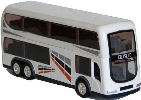 Zinc Alloy Kids Blue White Double Decker Bus Toy