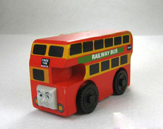 Kids Red Wood Bulgy Theme Double Decker Bus Toy
