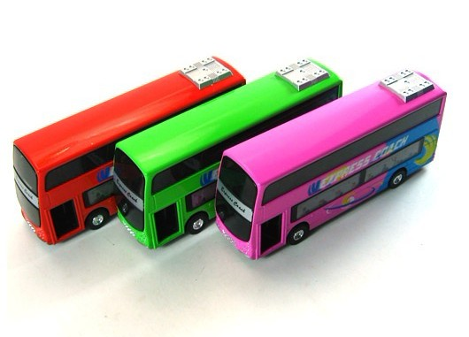 Kids Red / Pink / Green Pull-Back Function Double Decker Bus Toy