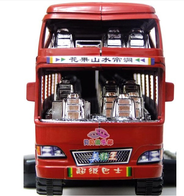Large Scale Kids Plastic Red / Blue Double Decker Bus Toy