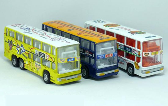 Kids Pull-Back Function White / Blue / Yellow Double Decker Bus