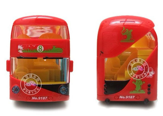 Kids Red Plastics Animals Figures Electric Double-Decker Bus Toy