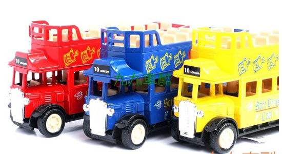 Red / Blue / Yellow Kids Pull-Back Function Double-Decker Bus