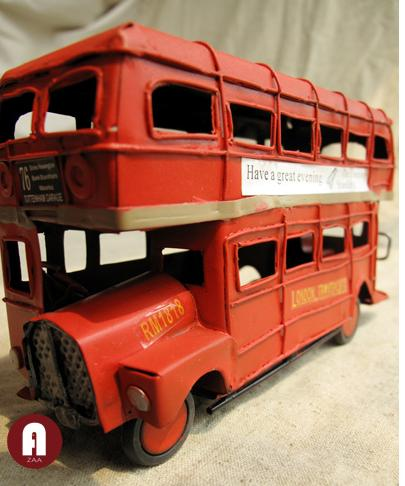 Small Scale Red Tinplate Vintage London Double-decker Bus Model
