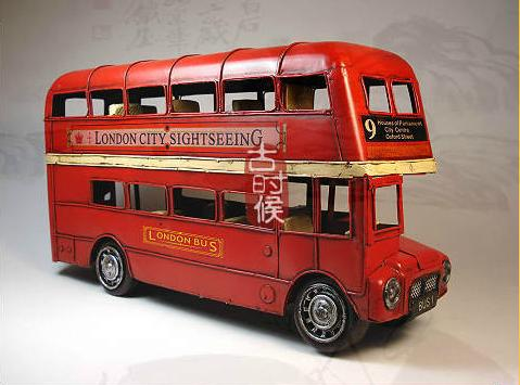 Medium Scale Red Vintage Style NO. 9 Double-Decker Bus Model