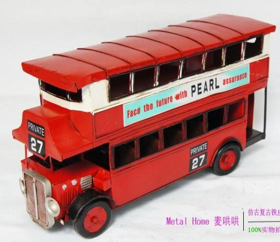 Large Scale Red NO.27 Route Vintage London Double-Decker Bus