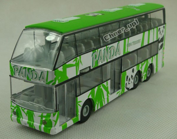 1:32 Scale White-Green Lovely Panda Double-Decker Bus Toy