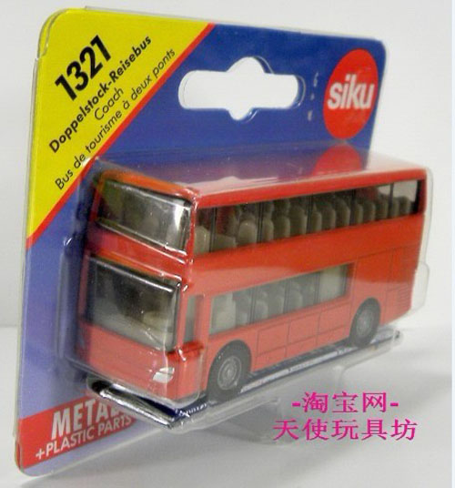 Mini Scale Kids Red SIKU Doppelstock-Reise Bus Toy