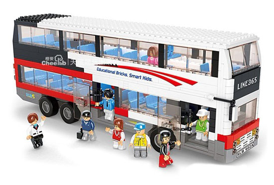 Large Scale White Building Blocks Educational Double-Decker Bus