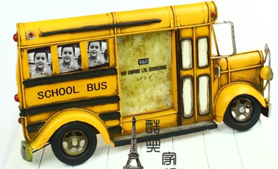 Yellow Large Scale School Bus Design Photo Frame
