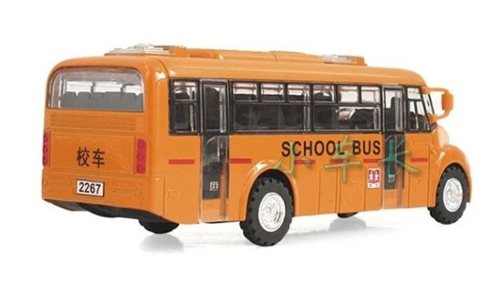 Pull-Back Function Kids Die-cast Yellow Chinese School Bus Toy