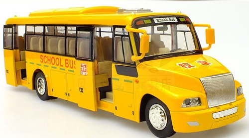 1:50 Scale Yellow Chinese Big Nose Die-cast School Bus Toy