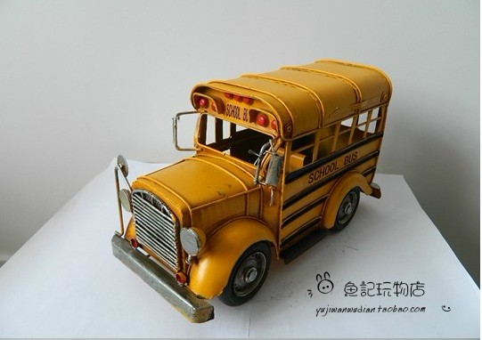 Medium Scale Yellow Tinplate Vintage School Bus Model