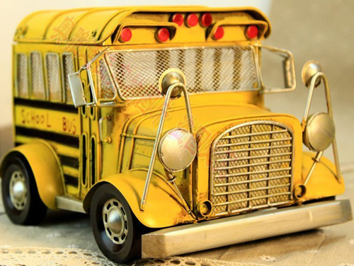 Yellow Medium Scale Tinplate Vintage School Bus Model