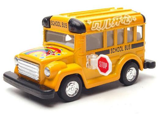 Kids Pull-Back Function Yellow / Red / Blue School Bus Toy