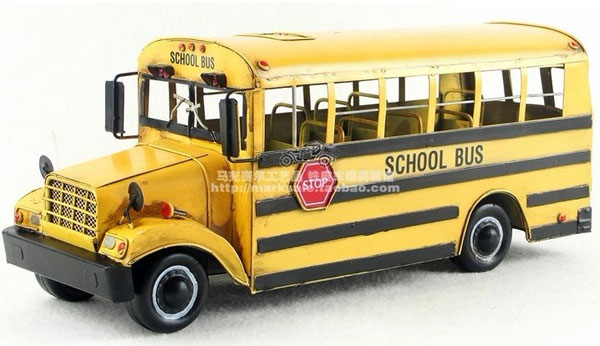 Large Scale Yellow Tinplate Vintage School Bus Model