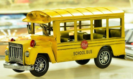 Tinplate Yellow Large Scale Vintage 1960s School Bus Model