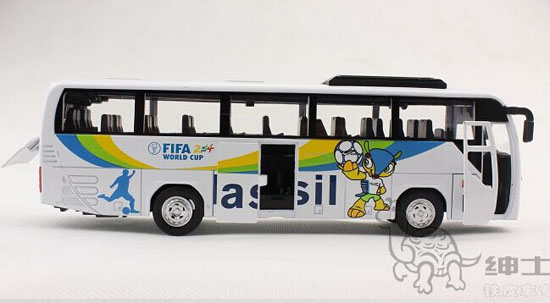 White Kids FIFA Brazil World Cup Die-Cast Tour Bus Toy