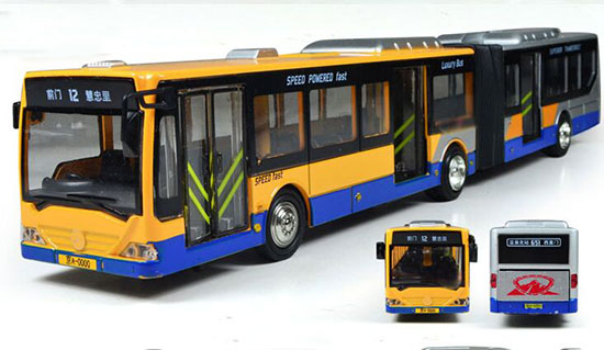 Yellow / Green / Red Articulated Design BeiJing City Bus Toy