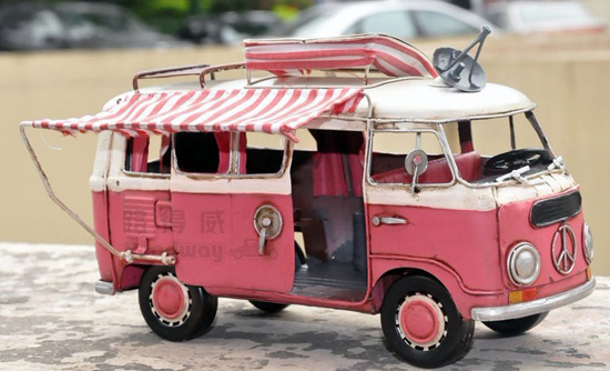 Medium Size Red-White Tinplate 1966 VW Motor Homes Bus Model