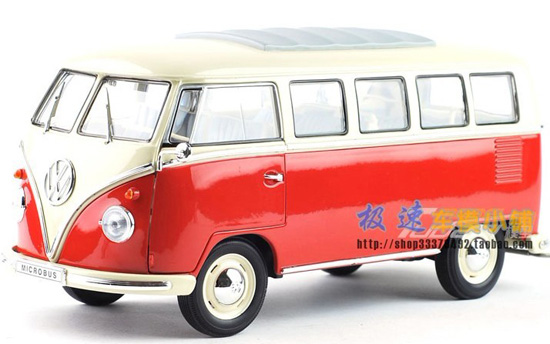 White-Red 1:18 Scale Welly Die-Cast 1962 VW Bus Model